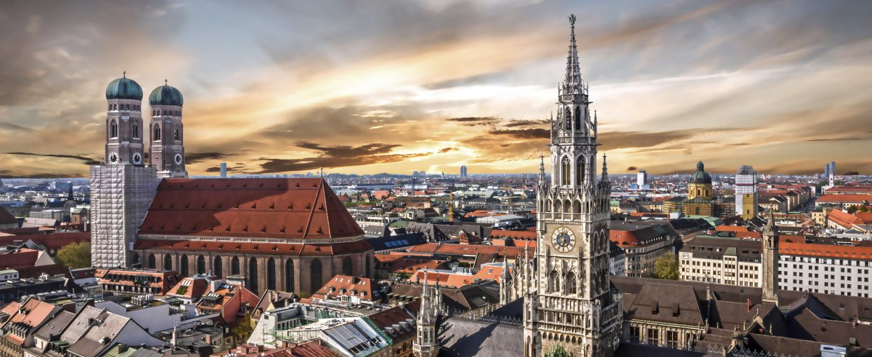Munich sunset panoramic architecture, Bavaria, Germany. Frauenkirche and town hall on Marienplatz